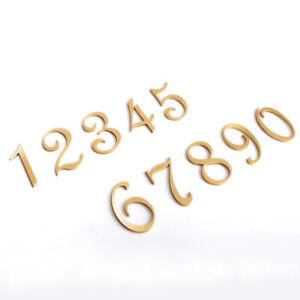 1Pc 5cm Brass Door Number Sign Digit House Hotel Apartment Plaque 0-9 DIY Decor