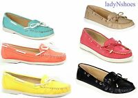 NEW Women's Fashion Flat Round Toe Ribbon Bow Boat Loafer Shoes Size 5.5 - 10