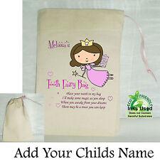 Girl First Tooth Fairy Mini Bag Cotton Drawstring Personalised Keepsake Pink