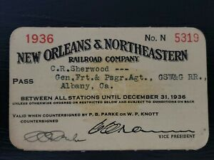 Vintage Rare 1936 New Orleans & Northeastern Railroad Company Annual Pass