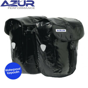 Azur Waterproof Tarpaulin Double Pannier Set - Large 54L Black