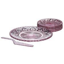 Premier Housewares 30.5cm 4 X Side Plate/slice 6pc Pink Glass Cake Plate Set