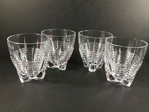 Unique Set Of 4 Vintage Lead Crystal Whiskey Rocks Glasses