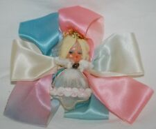Vintage Pink Blue Angel Fairy Christmas Ornament Nylon chenille Rubber Face!