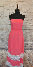 Modcloth Day-To-Bay Routine Dress NWOT Sz M Pink owl Strapless Maxi Coral lace