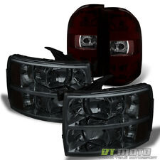 2007-2013 Chevy Silverado Headlights+Red Smoke Tail Lights Brake Lamps Set 07-13