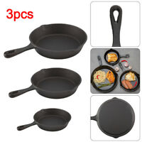 3Pcs CAST IRON Non-Stick Frying Griddle Pan Barbecue Grill Fry BBQ Skillet UK