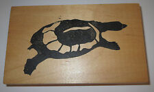 Sea Turtle Rubber Stamp Swimming Wood Mounted 1997 Seattle Press