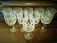 10 x ALTE Wein/Sektgläser Kristallglas handgefertigtes Girlandenmotiv 20er Jahre