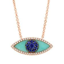 14K Rose Gold All Seeing Eye Turquoise Blue Sapphire Diamond Pendant Necklace