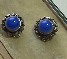 SILVER & BLUE CHALCEDONY CLIP EARRINGS
