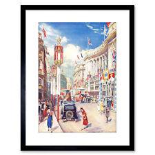 Painting Regent Street 1937 Coronation London England Framed Print 9x7 Inch