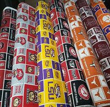 NCAA College Cotton Fabric by the 1/4 Yard -PICK TEAM- 9