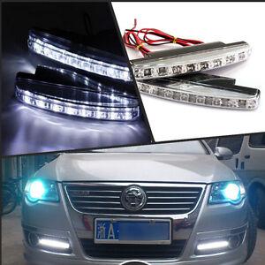 1 Pair Car Daytime Running Light DRL Daylight 8 LED Euro Fog Lamp Day Lights