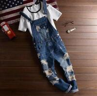 New Men's Sim Ripped Holes Denim Jeans Casual Suspender Destroyed Pants Overalls