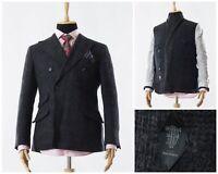Mens DENIS FRISON Blazer Coat Jacket Double Breasted Wool Grey Size 40 M 50