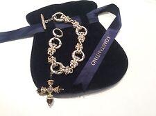 KONSTANTINO STERLING SILVER, 18k Bracelet, Smoky Topaz Cross