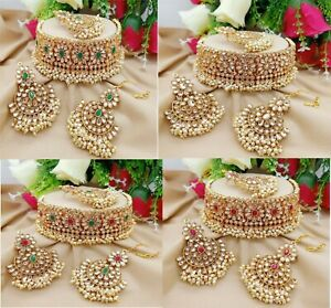 Indian Bridal Choker Necklace Gold Tone Heavy Earrings With Head Tikka Jewelry