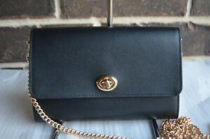 NWT $195 Coach Marlow Turnlock Chain Crossbody Leather Bag BLACK 38966
