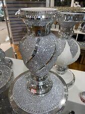 Ceramic Silver Glitter Vase Diamonte Home Decoration Ornament40cm