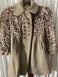 1940's Girl's Coat & Hat- S- Brown Wool & Faux Leopard Fur- STUNNING