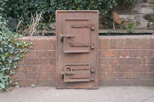 76 x 40.5 cm old cast iron fire bread oven door/doors /flue/clay/range/pizza