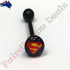 16 mm Black Acrylic Flexible Tongue bar with 7 mm Superman Logo Dome Top