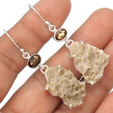 Smokey Quartz Druzy & Smokey Topaz  925 Silver Earrings Jewelry EE71156