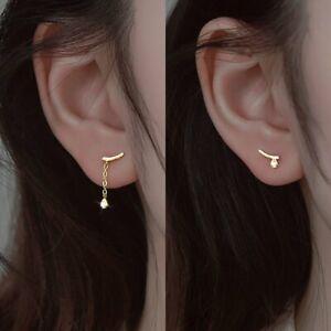 925 Silver Geometric Star Ball Tassel Chain Stud Earrings Dangle Women Jewelry