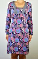 Mantaray Grey Blue Aline Dress Cotton Holiday Summer Casual Geometric Size 12 AZ