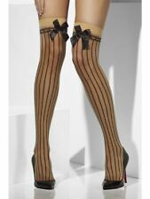 Nude Sheer Hold-ups With Black Vertical Stripes and Bow