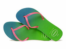 HAVAIANAS Short Strap Green & Pink Flip-flops NWT Sz 9
