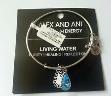 Alex and Ani LIVING WATER Blue Charm Bangle Bracelet New W/Tag Card & Box Silver