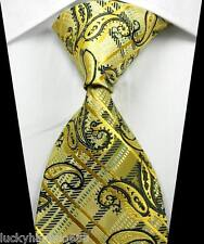 New Paisleys Stripes Yellow Black JACQUARD WOVEN 100% Silk Men's Tie Necktie