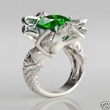 HUGE 3.20CT Dark Gree 925 Sterling Silver Mermaid Women's Bridal Engagement Ring