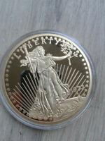 XXL***VERGOLDET:24 Karat**20$ Gold Eagle 1933**Gigantmedaille**Ø 70 mm*110 g*PP*
