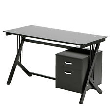 130cm Black Glass Top Computer Desk PC Table With 2 Drawer Home Office Furniture