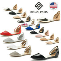 DREAM PAIRS Womens Ballerina Ballet Flat Shoes Ankle Strap Comfort Slip On Shoes