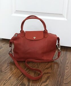 LONGCHAMP Le Pliage Cuir leather tote bag long strap orange — MADE IN FRANCE
