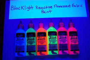 Tulip 6 Pack 1.25oz Assorted Neon Blacklight Reactive Fabric Paint Set