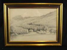 "Vintage Refugio"" On Lake George ""Carbón Lápiz Dibujo Enmarcado Firmado"