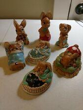 Vintage Lot of 7 Pendelfin Figurines Handpainted Stonecraft England