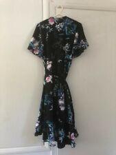 BNWT LIPSY Amelia Black Floral Frill Wrap Dress 12 High low hem