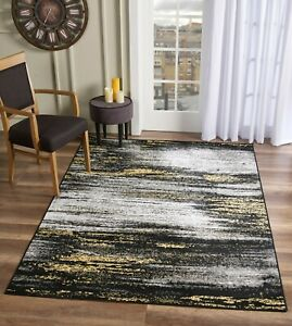 Bahama Black/Yellow Abstract Area Rug   Available in 8x11 and More   Rug Depot