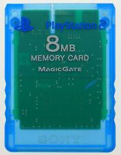ORIGINALE Sony PlayStation 2 scheda memoria 8 MB Scheda di memoria TRASPARENTE BLU-ps2