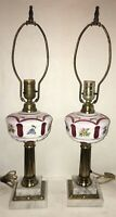 BEAUTIFUL Pair of Vintage Bohemian Czech Cut to Cranberry Glass Lamps SANDWICH
