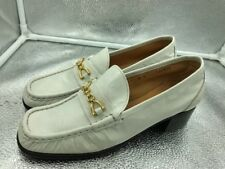 ⭐️Vintage Russell & Bromley Size 7 40 White Leather Horsebit Loafers Womens Mod