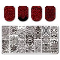Nagel Schablonen Nail Art Stempel Plate BORN PRETTY Blumen BP-L053 DIY Design