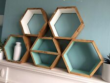 5 HEXAGON WOODEN SHELVES HANDMADE SCANDI DISPLAY GEO RETRO SHELF.