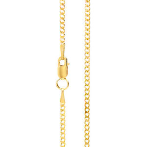 Mens Gold Chain Necklace 1.9 mm wide Diamond Cut Curb Style